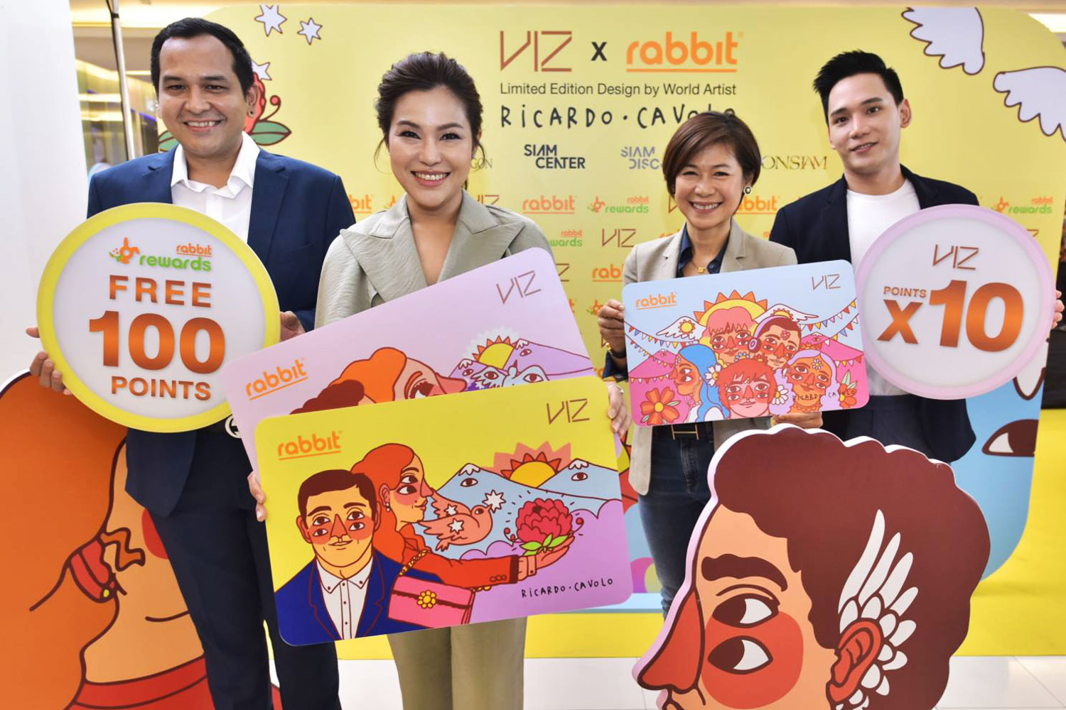 Ms Saruntorn, centre left, and Phakin Pattanavorameth, Rabbit Rewards' business development director, left, promote the VIZ Rabbit card.