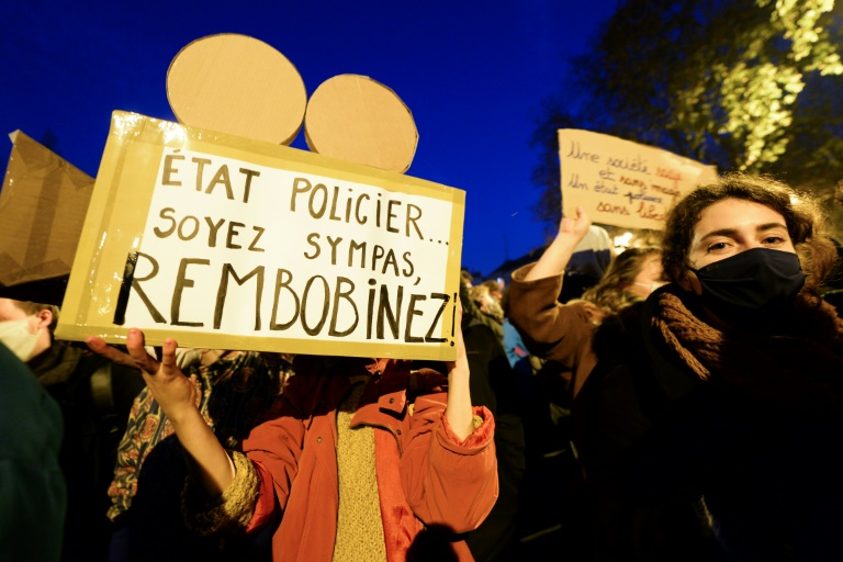 French protestors rally in Nantes on Friday against the new security law with more demonstrations expected on Saturday