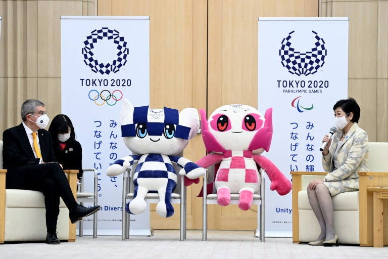 International Olympic Committee president Thomas Bach (left) was in Japan recently for talks with Tokyo Governor Yuriko Koike about the delayed Olympic Games.