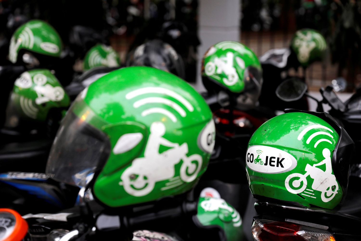 Gojek driver helmets are seen during Go-Food festival in Jakarta last year. (Reuters photo)