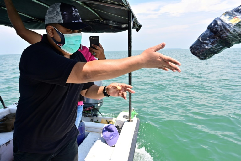 A scientist in Indonesia tosses a plastic wrapped GPS beacon into the sea, to help monitor the movement of polluting plastic waste through satellite tracking. (Photo: AFP)