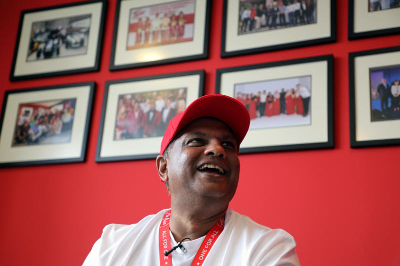 AirAsia Group CEO Tony Fernandes reacts during an interview with Reuters in Kuala Lumpur on Oct 8, 2020. (Reuters photo)