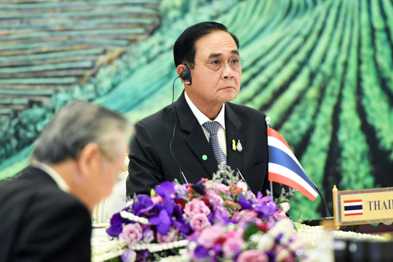 Prime Minister Prayut Chan-o-cha attends the Ayeyawady-Chao Phraya-Mekong Economic Cooperation Strategy Summit held online on Wednesday. (Government House photo)