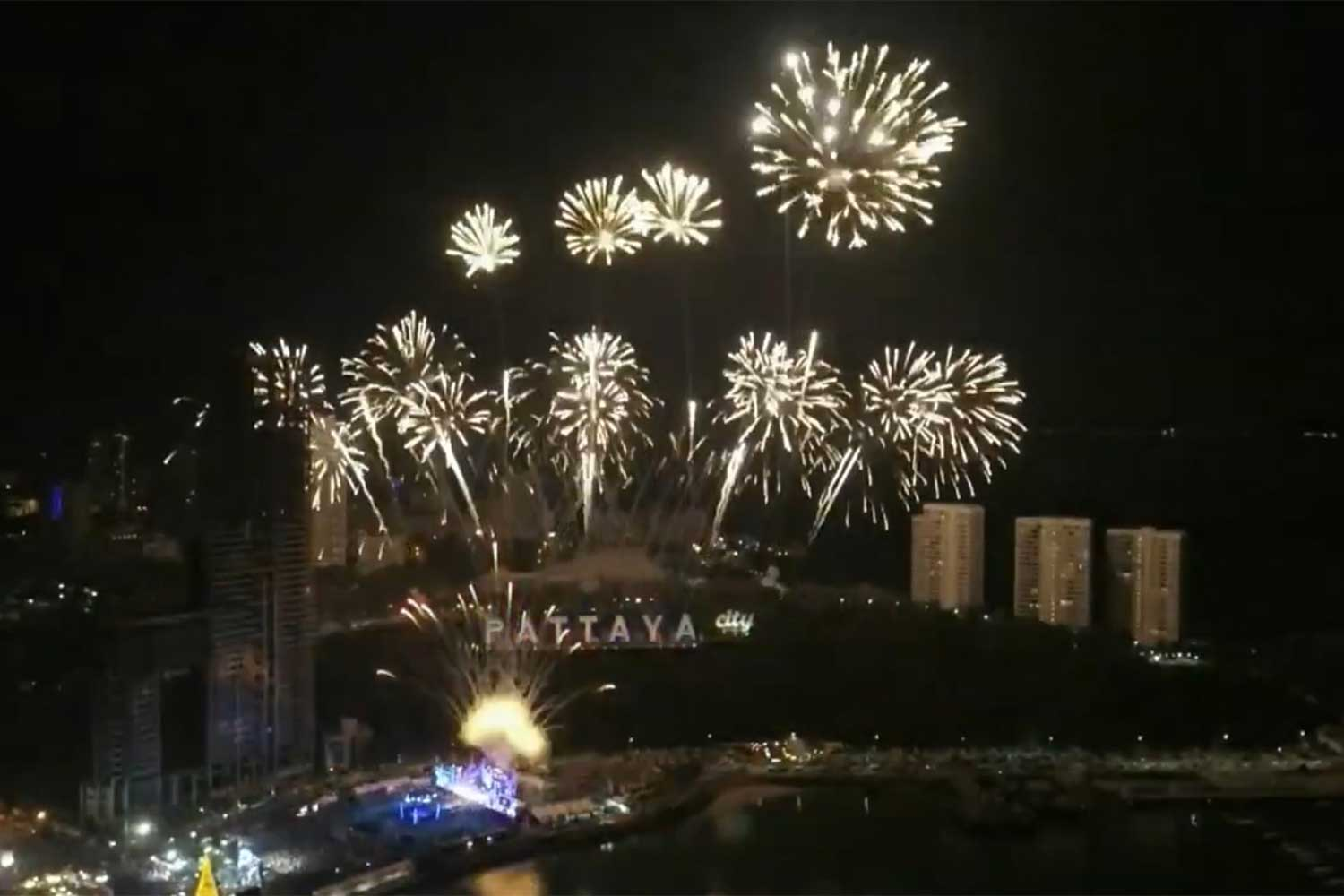 Part of last year's celebration. This year's Pattaya Countdown has been cancelled due to concerns over a new wave of Covid-19.  (Photo: Chaiyot Pupattanapong)
