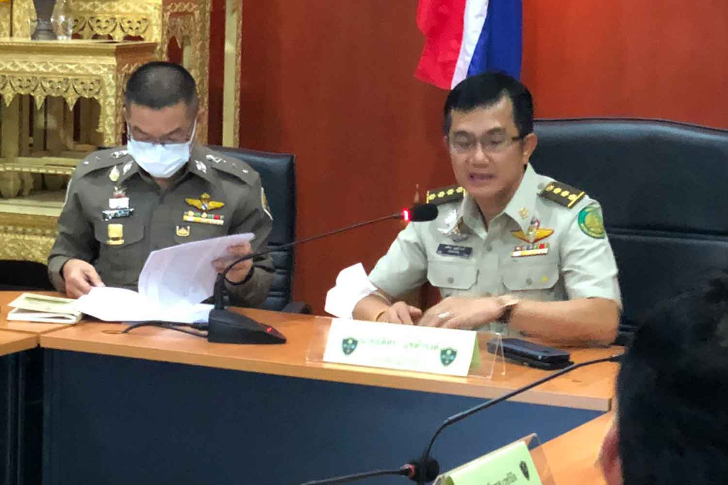 Adisorn Nutdamrong, director-general of the Forest Department, at a press conference at the Natural Resources and Environmental Crime Suppression Division in Bangkok on Wednesday. (Photo supplied)