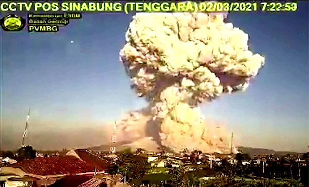 Timelapse shows multiple eruptions of Indonesia's volcano