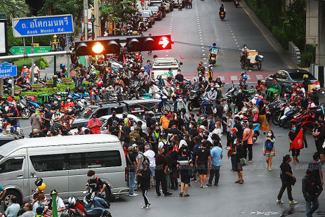 Protest at Asoke intersection -1