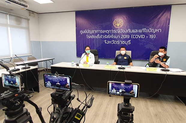 Ratchaburi governor Ronnapop Luangpairote (centre) reported five new Covid-19 cases in the province on Saturday. (Photo by Saichol Srinuanchan)