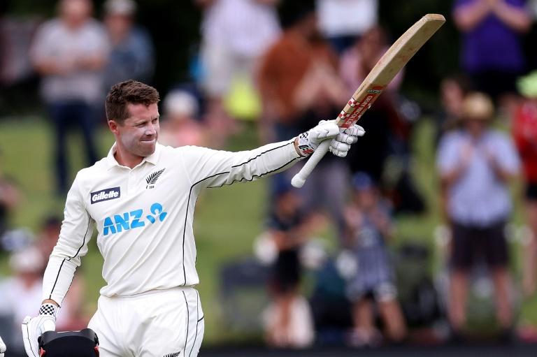 New Zealand's Henry Nicholls celebrates reaching his century against Pakistan