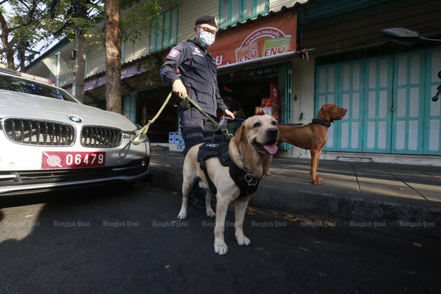 Sniffer dogs seek out illegal drugs on Monday in the area around Wat Phraya Krai in the capital.Photo by Arnun Chonmahatrakool