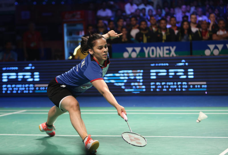 FILE PHOTO: Saina Nehwal of Awadhe Warriors plays a shot against Han Li of Mumbai Rockets during women's singles second semi final event at the Indian Premier Badminton League in Hyderabad, India, Jan 15, 2016. (AFP)