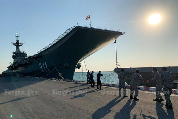 HTMS Chakri Naruebet, docked at the naval base in Sattahip district of Chon Buri. (Photo: Wassana Nanuam)