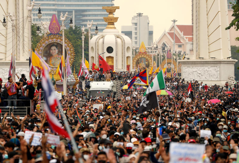 FILE PHOTO: Pro-democracy demonstrators march during an anti-government mass protest, on the 47th anniversary of the 1973 student uprising, in Bangkok on Oct 14, 2020. (Reuters)