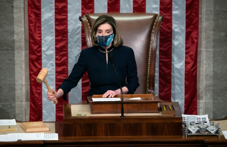 Speaker of the House Nancy Pelosi gavels during the chamber's vote on the impeachment of President Donald Trump on January 13, 2021