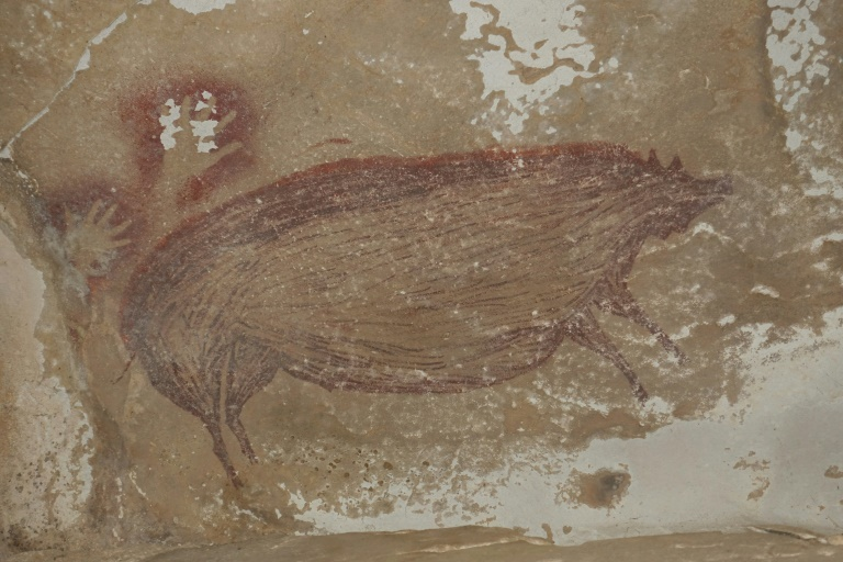 This cave painting at Leang Tedongnge in Sulawesi, Indonesia, is the world's oldest known cave painting: a life-sized picture of a wild pig that was done at least 45,500 years ago.