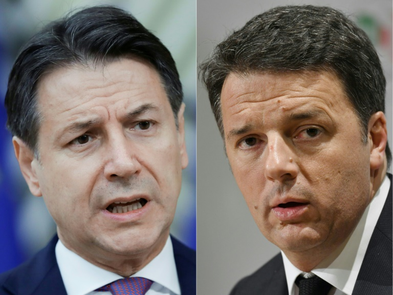 Conte, left, has lost his majority in the Senate after Renzi's Italia Viva party withdrew from their coalition