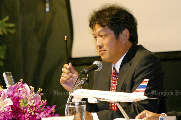 Udom Tantiprasongchai announces additional routes for Orient Thai Airlines on Aug 12, 2007. He died on Saturday at the age of 66. (Post Today photo)