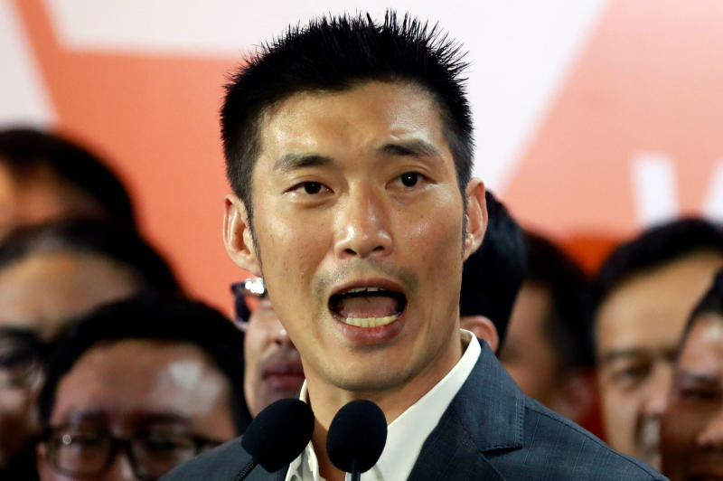 FILE PHOTO: Future Forward Party leader Thanathorn Juangroongruangkit gives a speech at the party's headquarters in Bangkok, Feb 21, 2020. (Reuters)