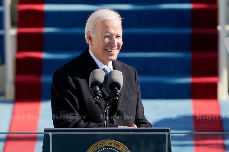US President Joe Biden delivers his Inauguration speech after being sworn in as the 46th US President on Wednesday. (AFP photo)