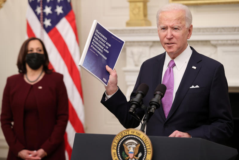 US President Joe Biden speaks about his administration's plans to fight the coronavirus pandemic during a Covid-19 response event in Washington on Thursday. (Reuters photo)