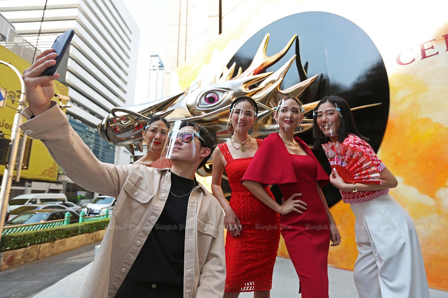 Presenters pose at The Great Chinese New Year 2021 campaign — one of CPN's largest marketing campaigns for the first quarter of 2021.(Photo by Varuth Hirunyatheb)