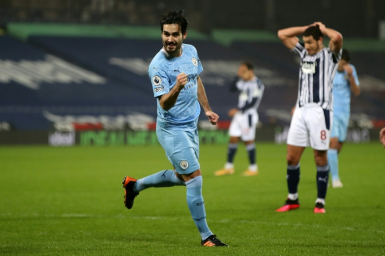 Two Gud: Ilkay Gundogan scored twice in Manchester City's thrashing of West Brom.