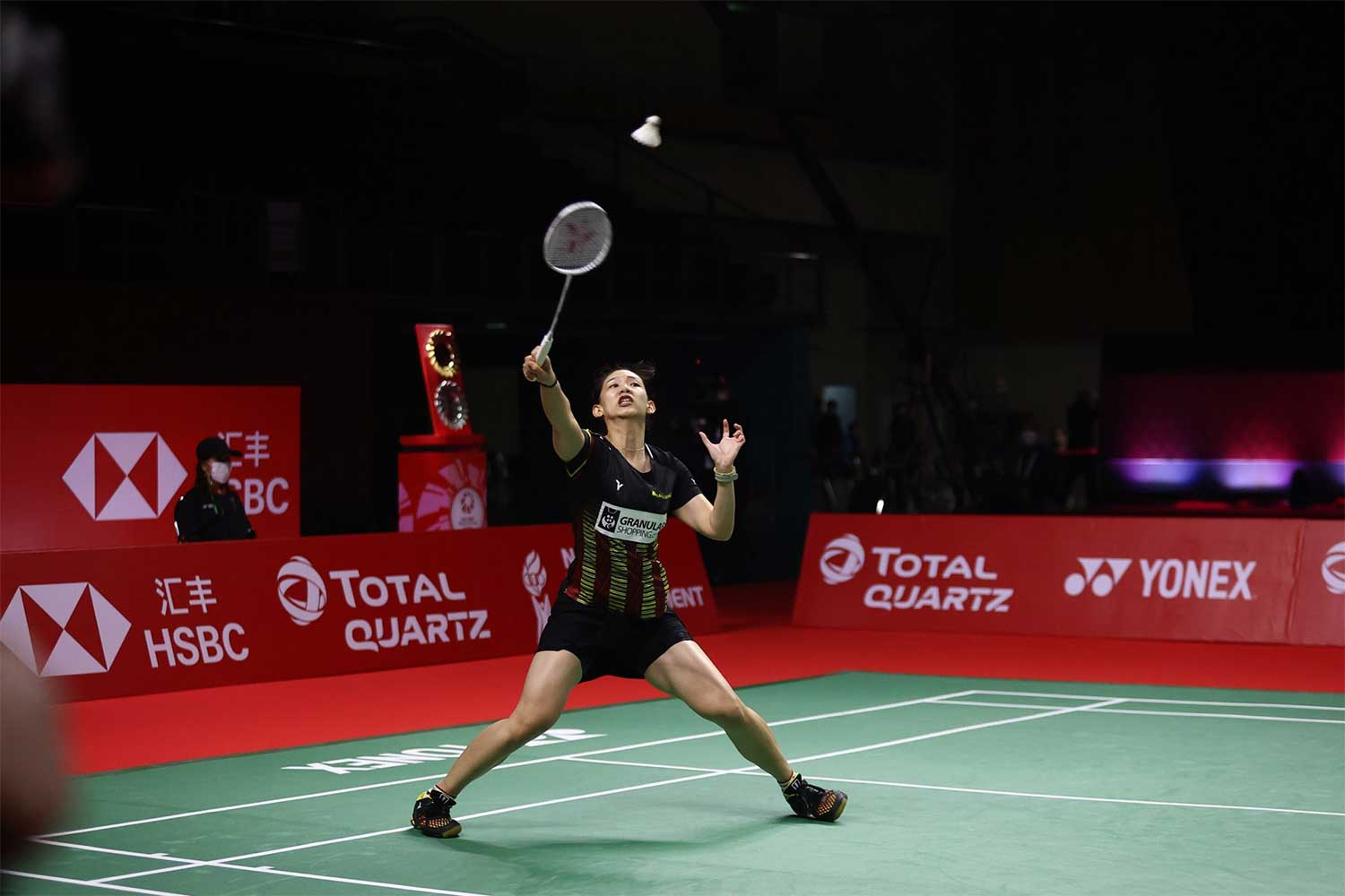 Thailand's Pornpawee Chochuwong plays a shot in her semi-final match against Carolina Marin on Saturday at Impact Arena. (Badminton Association of Thailand via AFP)
