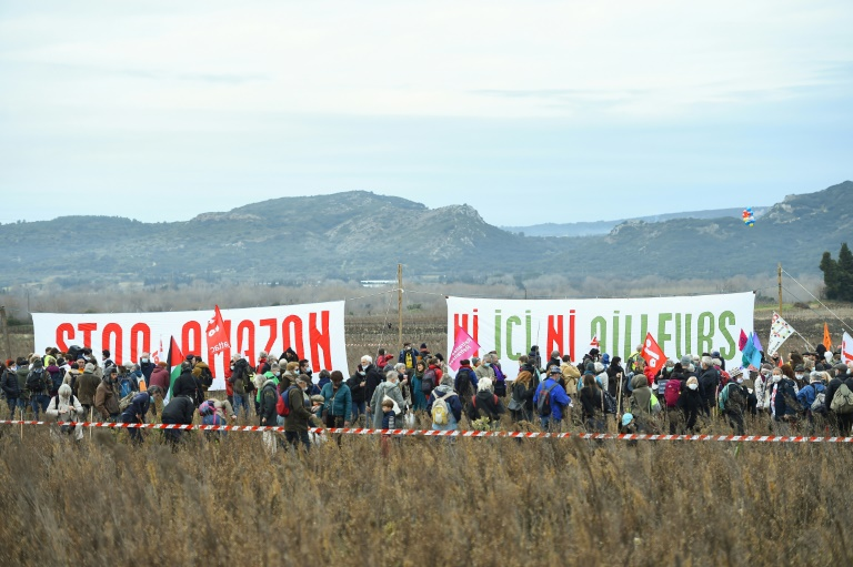 Several hundred joined the protest at the site of the planned warehouse at Fournes.