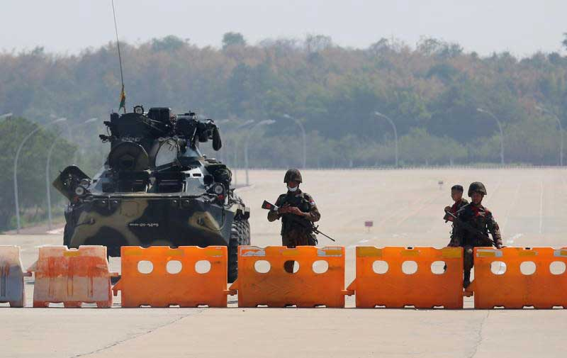 Myanmar's military checkpoint is seen on the way to the congress compound in Nay Pyi Taw on Monday. (Reuters photo)
