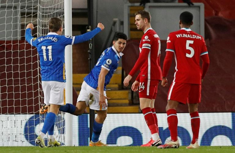 Brighton's Steven Alzate (second left) celebrates scoring at Liverpool