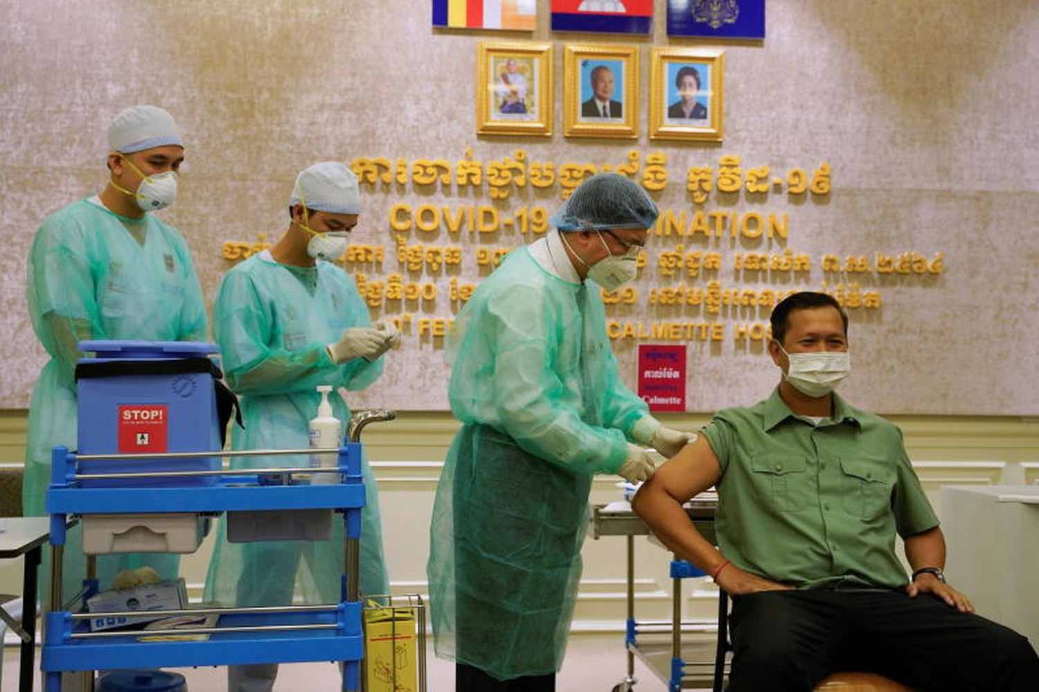 Hun Manet, the son of Cambodia's Prime Minster Hun Sen gets a vaccine shot  as  Cambodia starts its coronavirus disease vaccine rollout with 600,000 doses of Sinopharm vaccine donated by China in Phnom Penh on Wednesday. (Photo: Reuters)
