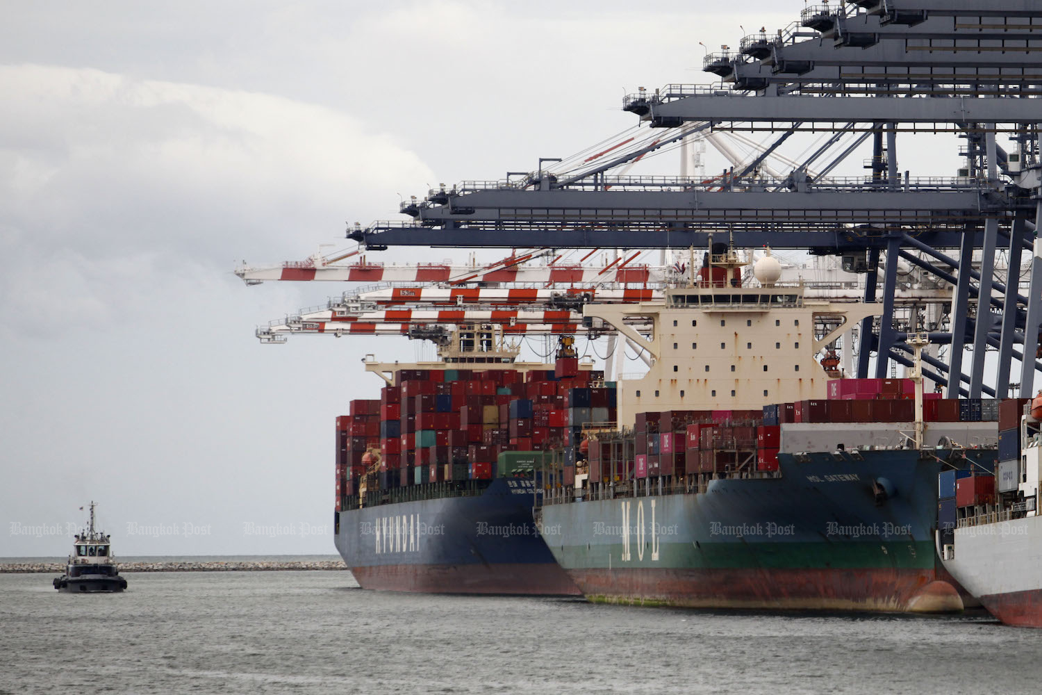 Container ships are berthed at Lam Chabang port in Chon Buri. (Post File Photo)