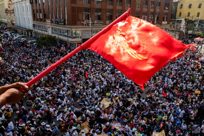 Demonstrators protest against the military coup in Yangon on Wednesday. (Reuters photo)