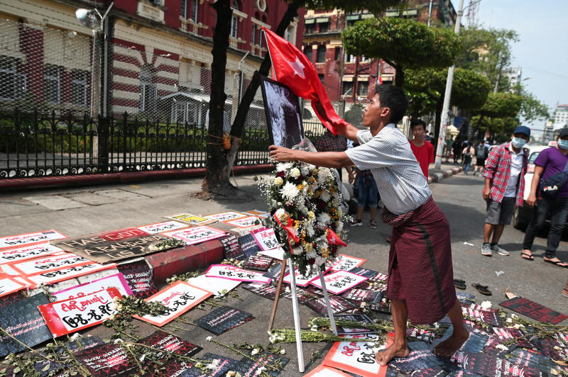 A view of a memorial in Yangon on Friday for Mya Thwate Thwate Khaing, a young woman protester who was shot in the head in Nay Pyi Taw when police tried to disperse a crowd during protests against the military coup on. (Reuters photo)