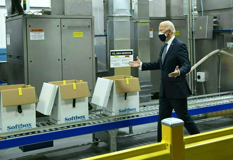 US President Joe Biden tours the Pfizer Kalamazoo Manufacturing Site on Friday in Portage, Michigan.