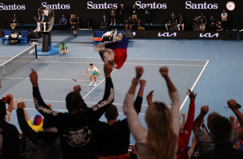 Novak Djokovic celebrates winning his final match against Russia's Daniil Medvedev on Sunday. (Reuters photo)
