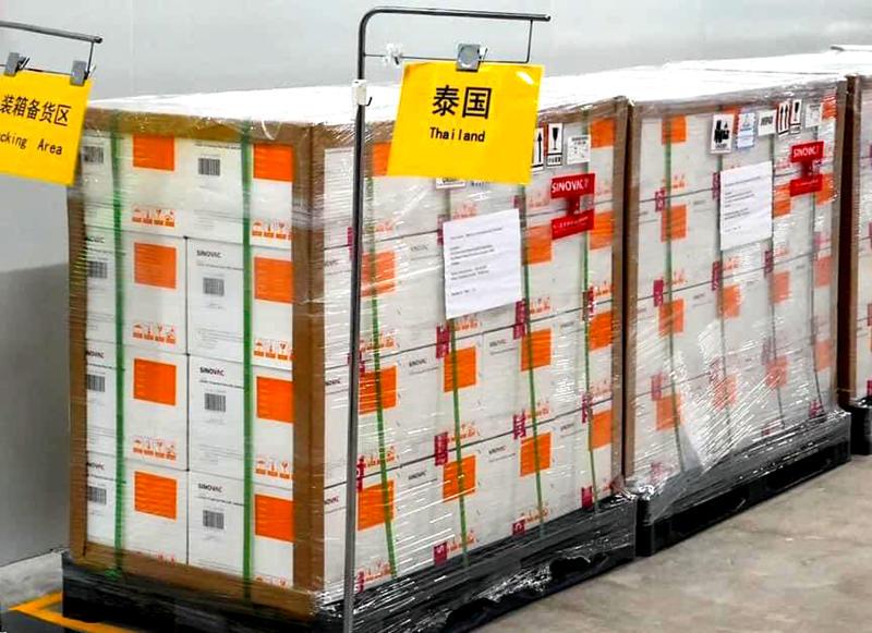 A photo uploaded by Public Health Minister Anutin Charnvirakul on Facebook shows Sinovac's Covid-19 vaccines being prepared for delivery to Thailand. The vaccines are due to arrive on Wednesday. (Photo: Anutin Charnvirakul's Facebook page)