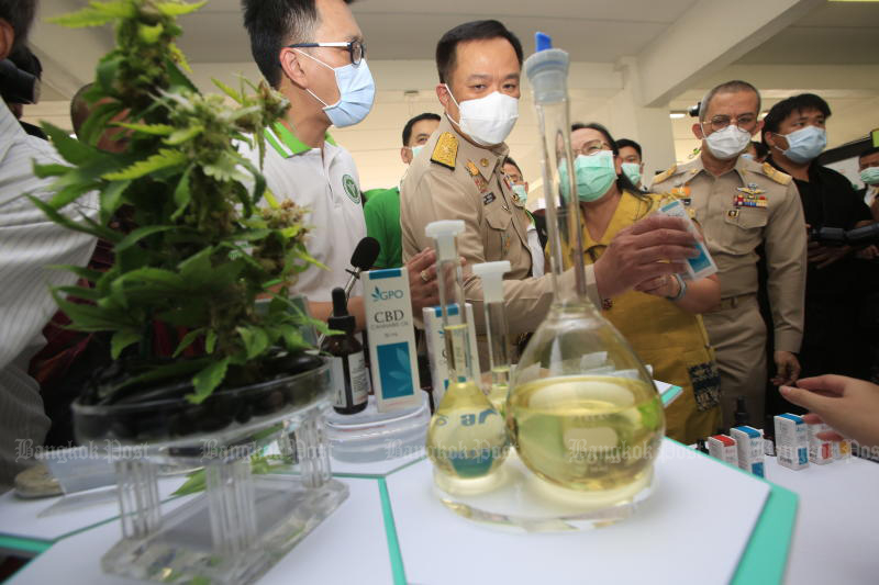 Public Health Minister Anutin Charnvirakul (centre) is being briefed about a cannabis-based product after opening the Institute of Medical Cannabis on Monday. (Photo by Pornprom Satrabhaya)