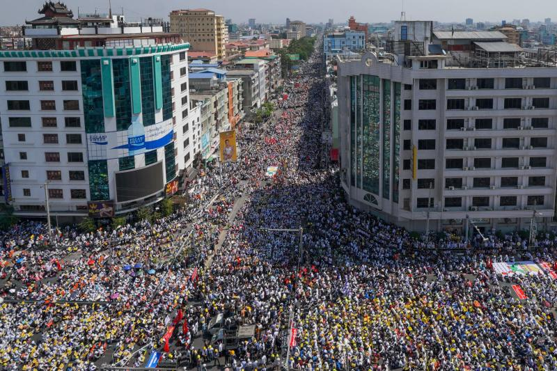 Protesters take part in a demonstration against the military coup in Mandalay on Monday. (AFP photo)