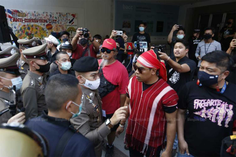 Activists hold an activity in Bangkok's Pathumwan area on Monday to save Bang Kloi indigenous Karen community in Phetchaburi province. (Photo: Wichan Charoenpakul)