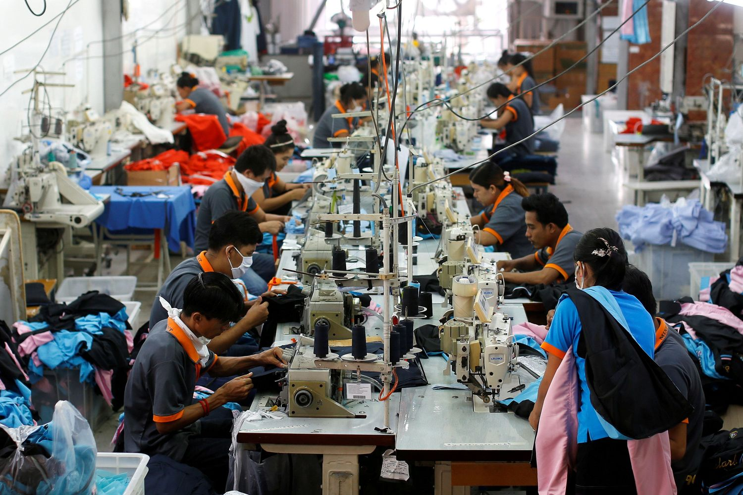 Labourers work at a garment factory in Bangkok. (Reuters file photo)