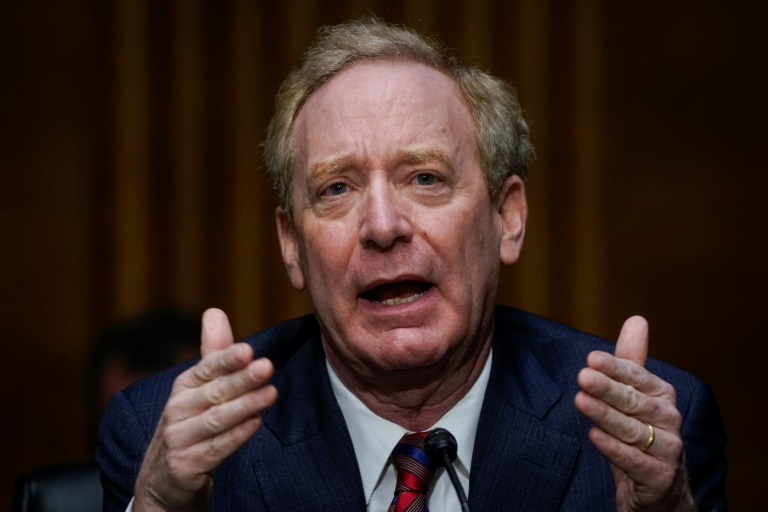 Microsoft President Brad Smith speaks during a Senate Intelligence Committee hearing on the SolarWind hack, which he attributed to Russian intelligence