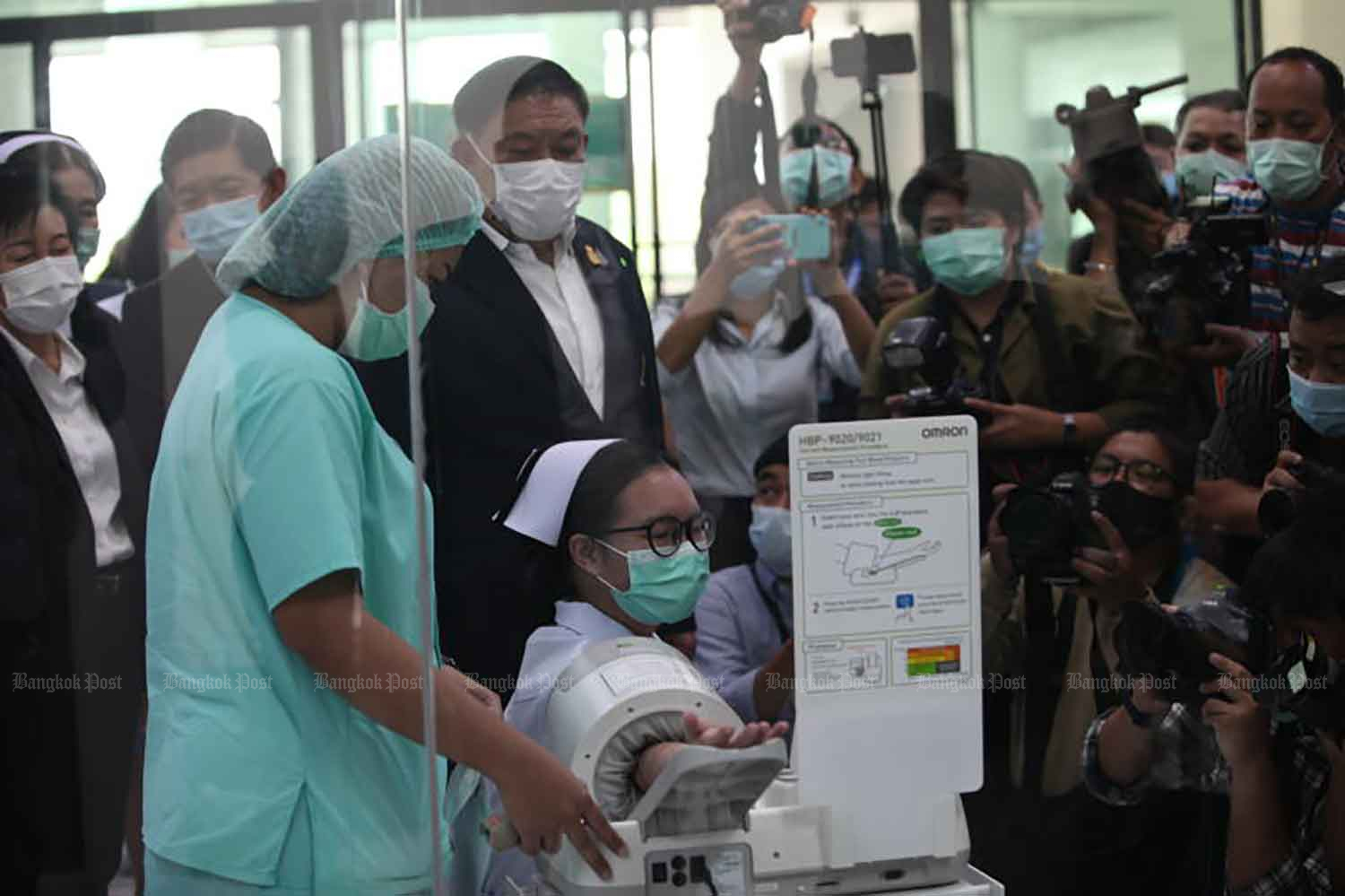 The Bangkok Metropolitan Administration holds a training session on Covid-19 vaccination, at Bang Khunthian Geriatric Hospital in Bang Khunthian district, on Thursday, when the country logged 45 new coronavirus infections. (Photo: Apichart Jinakul)