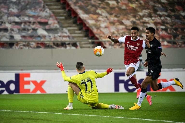 Pierre-Emerick Aubameyang (centre) scored two of Arsenal's three goals in a win over Benfica in Greece