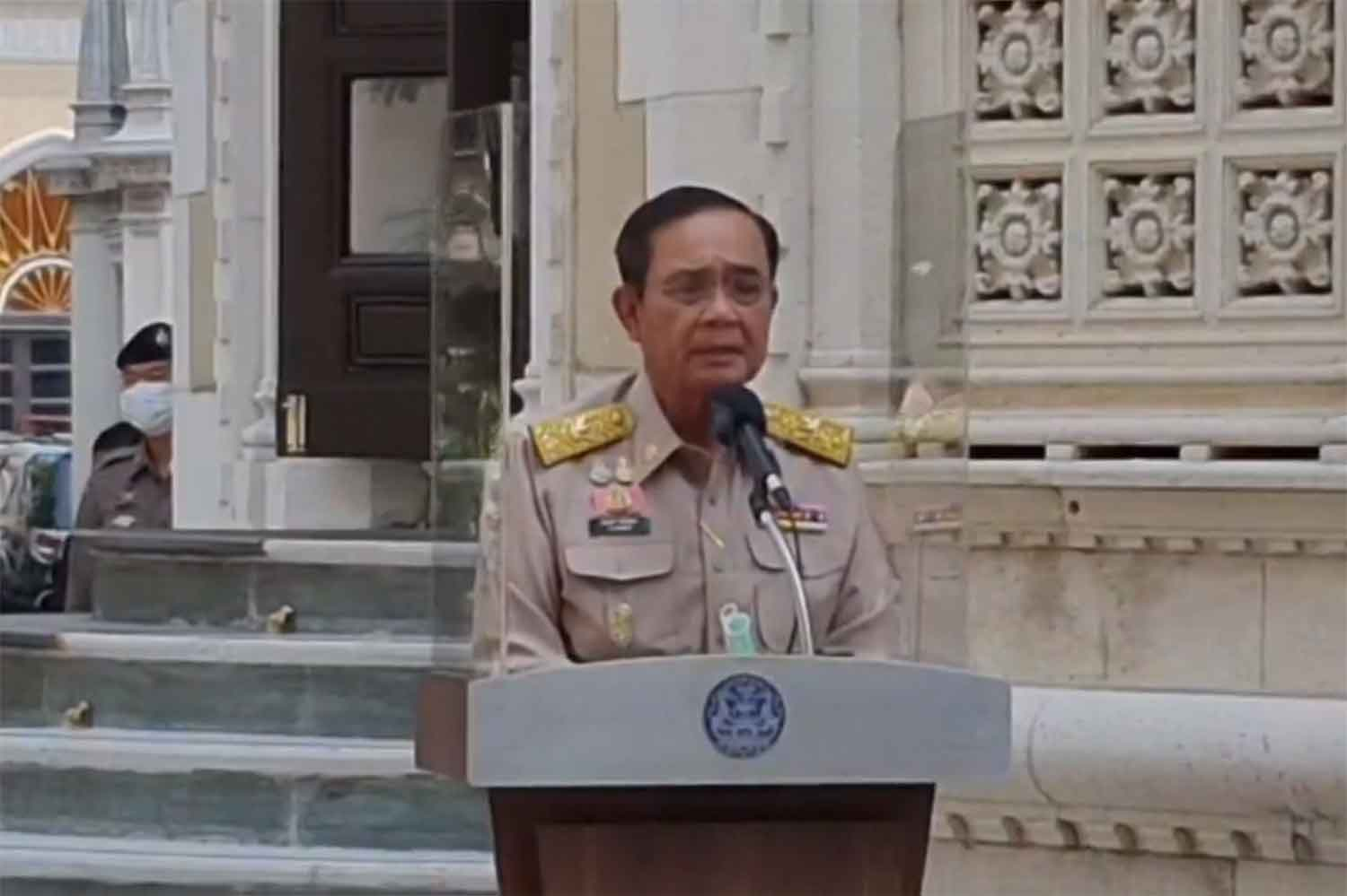 Prime Minister Prayut Chan-o-cha speaks to reporters at Government House in Bangkok on Monday. (Screenshot)