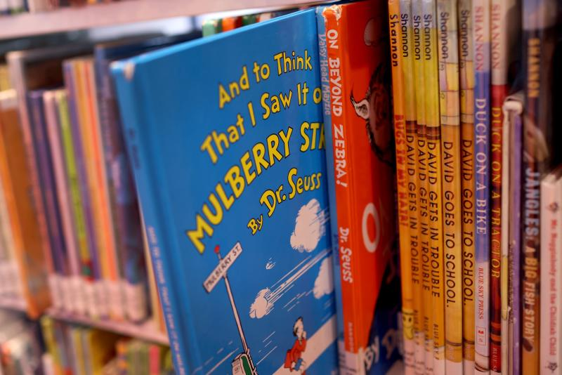 Dr Seuss books offered for loan at the Chinatown Branch of the Chicago Public Library on Tuesday, including two of the books that will be withdrawn. (Photo: AFP)
