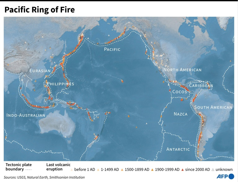 The Pacific Ring of Fire is where several of the Earth's tectonic plates meet and is the location of many earthquakes.