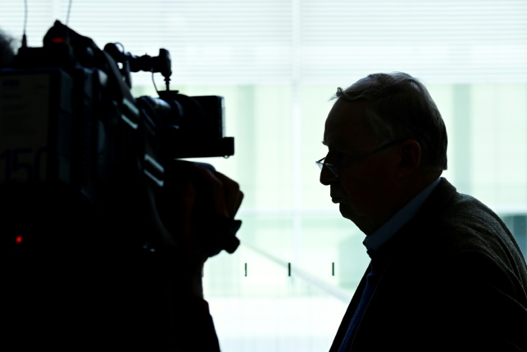 The co-leader of the parliamentary group of the Alternative for Germany (AfD) far-right party Alexander Gauland leaves a press conference this week