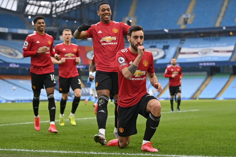 Manchester United's Bruno Fernandes opened the scoring at Manchester City.