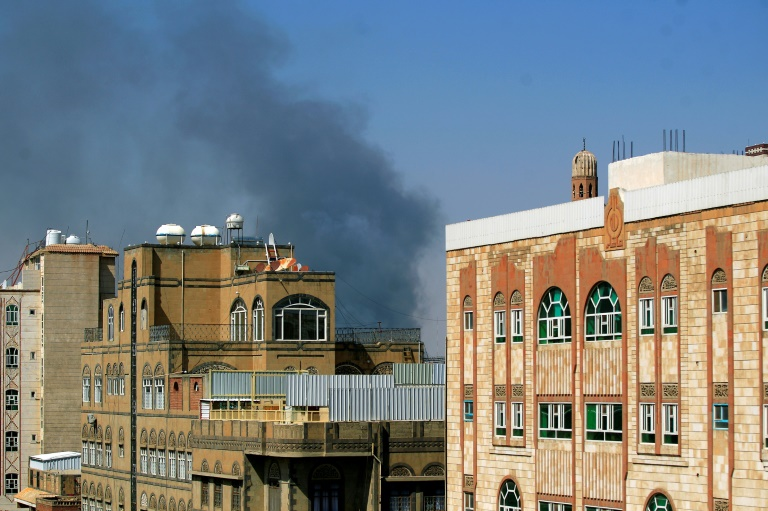 Smoke billows following a reported airstrike by the Saudi-led coalition in the Yemeni capital Sanaa